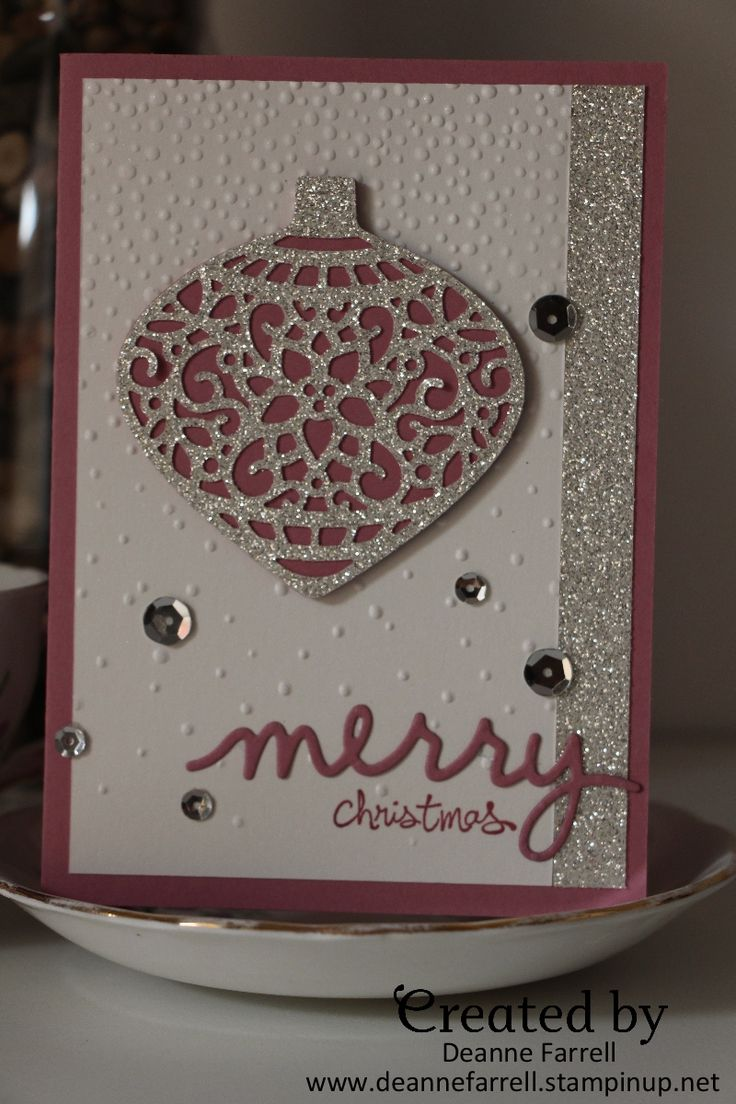 Stampin' Up! Christmas card in Sweet Sugarplum using Delicate Ornament Thinlets.