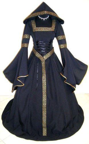 MEDIEVAL WEDDING DRESS VICTORIAN GOTH WITCH S-M 10-12-14 VAMPIRE WICCA LARP ROBE | eBay