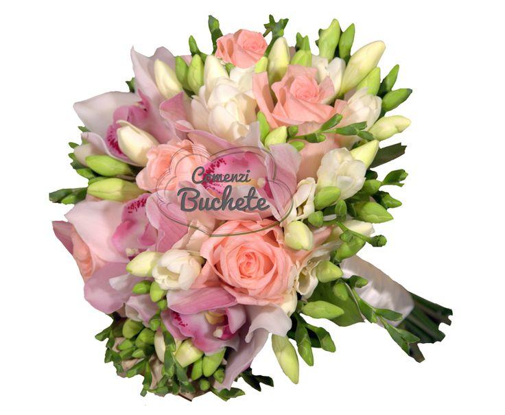 Buchet de mireasa cu orhidee cymbidium roz, trandafiri roz Engagement si frezii albe. Parfumat, feminin, stilat.