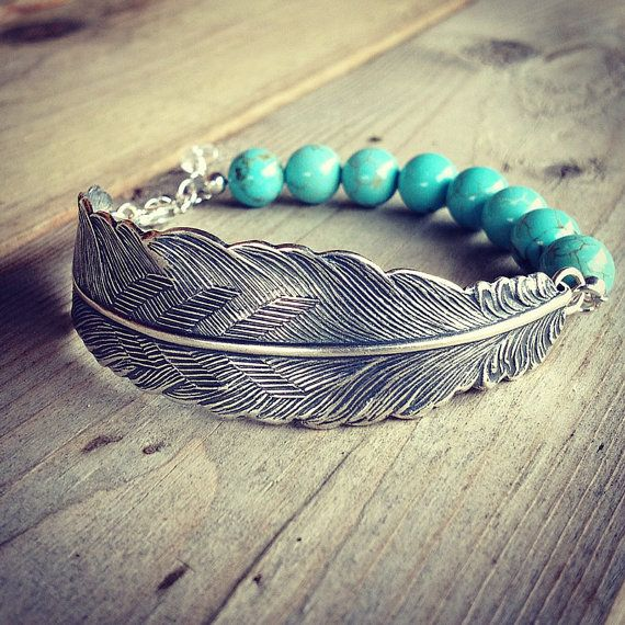 silver feather bracelet with turquoise magnesite gemstone beads and sterling silver chain on Etsy, $30.00