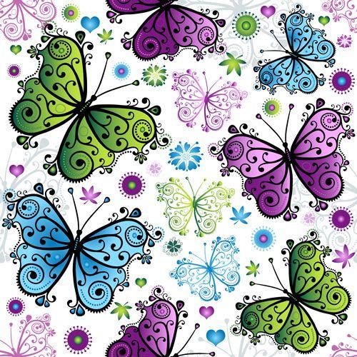 mariposas Floral patrón transparente conjunto de vectores 01