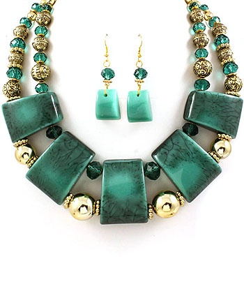 Stunning Teal, Multi-Strand Necklace Set