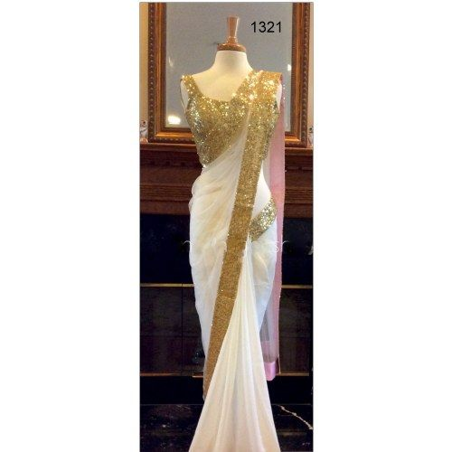 Designer Off White Georgette Saree