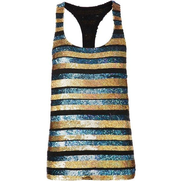 Ashish sequined tank top (1,776 CAD) found on Polyvore featuring tops, tank tops, tanks, shirts, blue, blue tank top, racerback tank tops, striped shirt, racer back tank and blue silk shirt