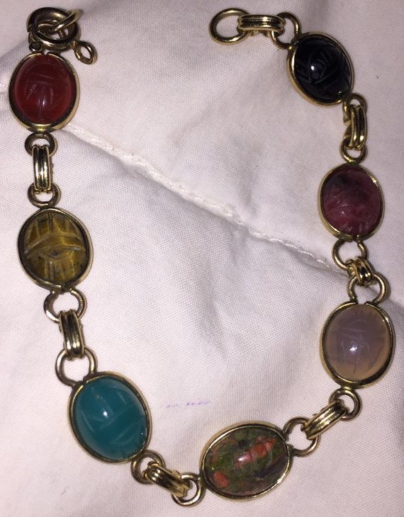 Carved Scarab Bracelet Classic Vintage Gold Filled Genuine