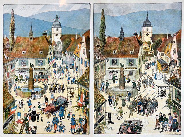 Deux tableaux du célèbre Hansi,  Musée de l'Oncle Hansi à Riquewihr