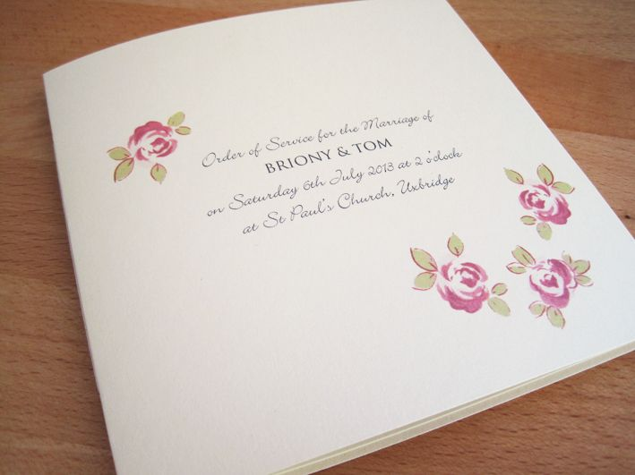 Rose Order of Service in cream pearlescent card with pink roses.