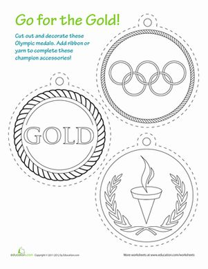 Summer First Grade Sports Paper Projects Worksheets: Printable Olympic Medals Worksheet