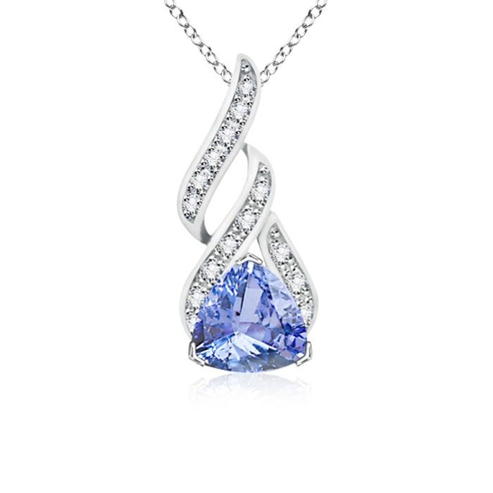 Love this Jewelry Style from Angara! Solitaire Trillion Tanzanite and Diamond Swirl Pendant