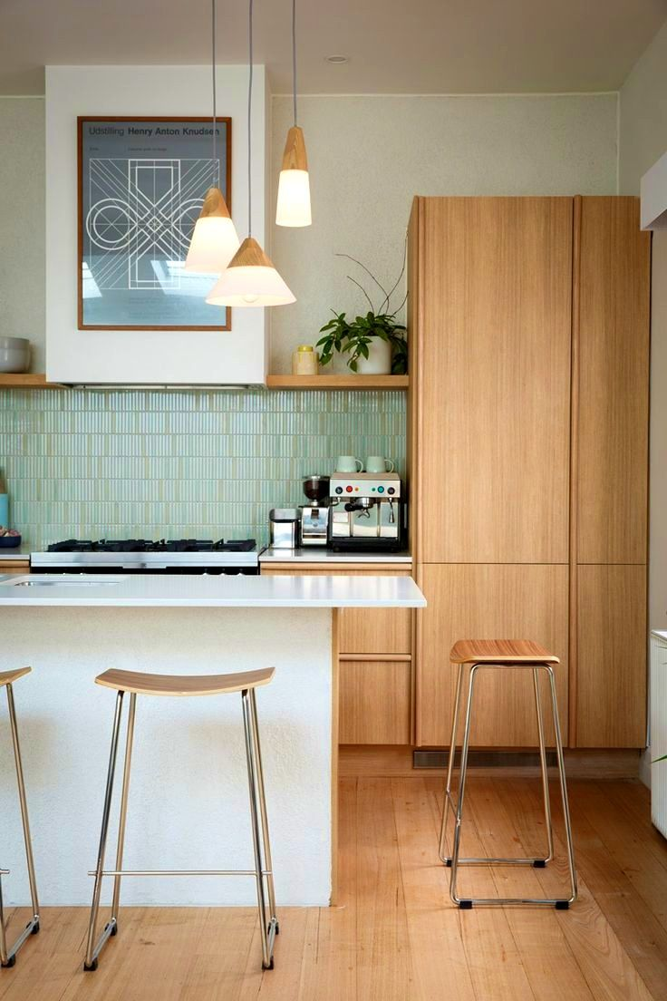 updated mid century modern inspired kitchen design sets refinishing chairs sink lighting