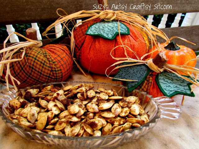 Candied Pumpkin seeds recipe- just in time for Halloween!  Yum!