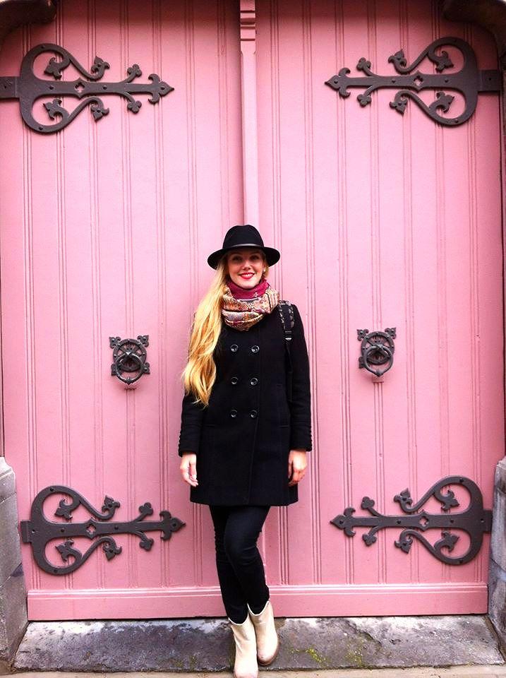 Beautiful pink Door in Gent, Belgium