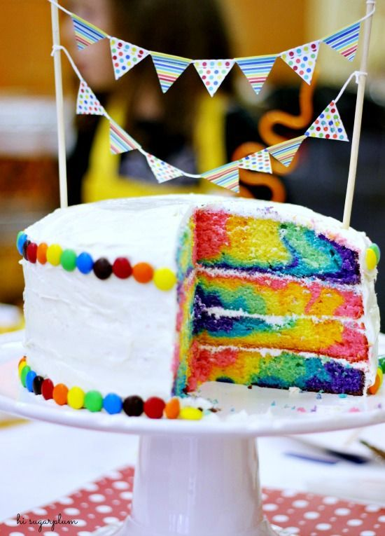 Diy rainbow tie dye cake