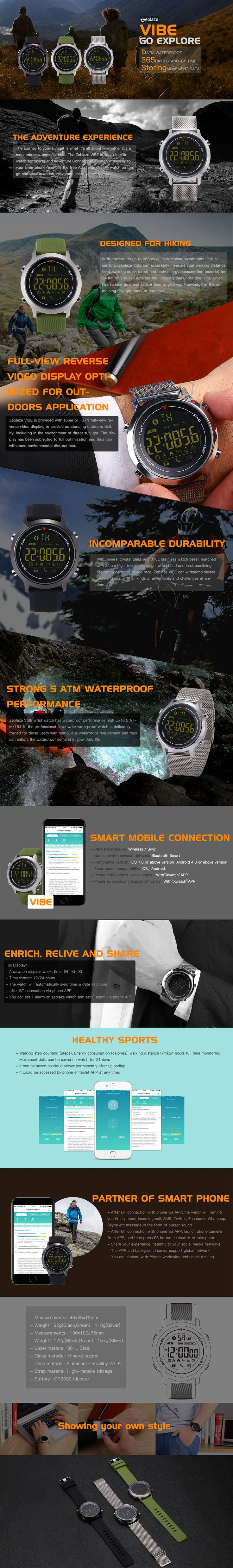 Zeblaze VIBE Hiking 5ATM Waterproof 365 Days Stand-by Tme Sport Smart Watch for Android&iOS