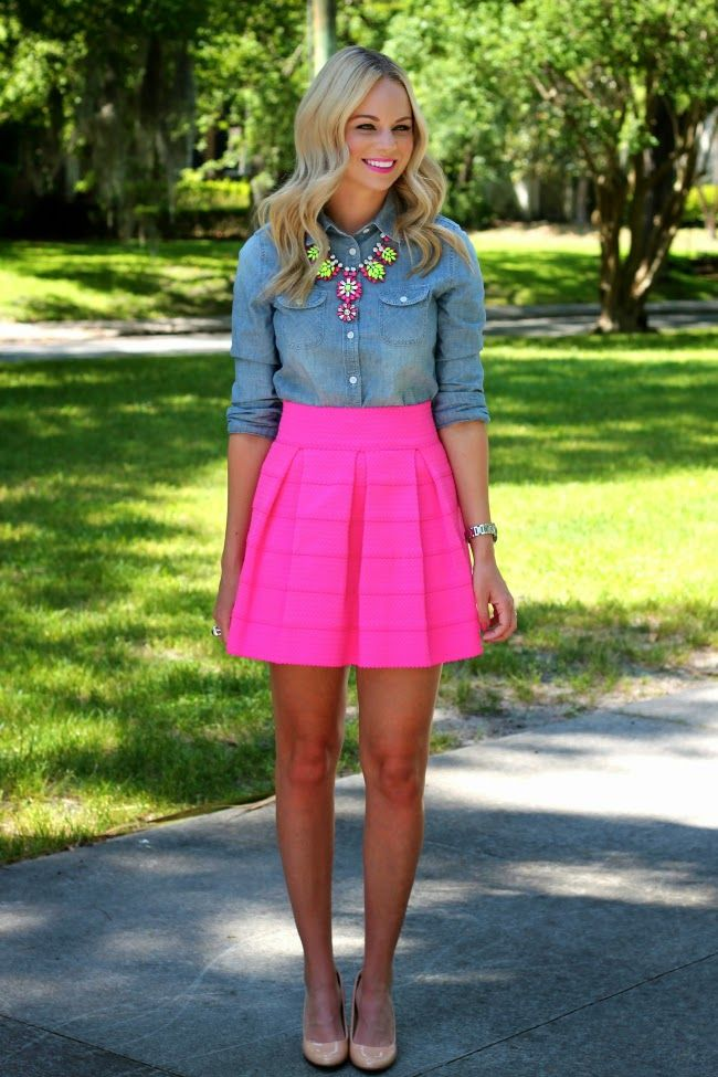 Chambray shirt, neon statement necklace, neon skirt, and pointed nude pumps.