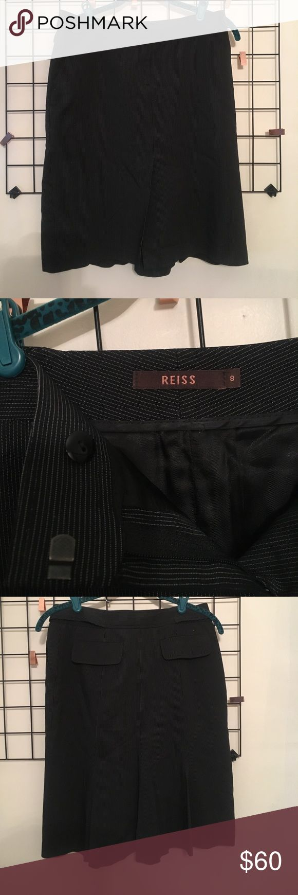 Reiss black pinstripe skirt suit size 8 Reiss black pinstripe skirt suit size 8 button sides, zipper front, pockets on front and back, flounce hem. Perfect condition! Reiss Skirts Pencil