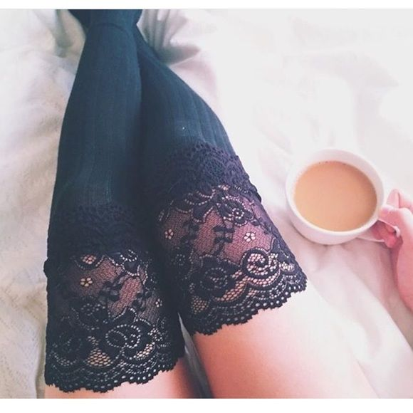 ✨High thigh lace socks✨ Brand new High quality material  Knee high lace socks 5 colors available  Bundle and save  ❗️️NOT FREE PEOPLE BREND JUST LIT D THAT WAY TO GET MORE VIEWS❗️ WHITE BLACK GREY CHOCOLATE  PINK  1/$16.  2/$25.  3/$35+ shipping Free People Shoes