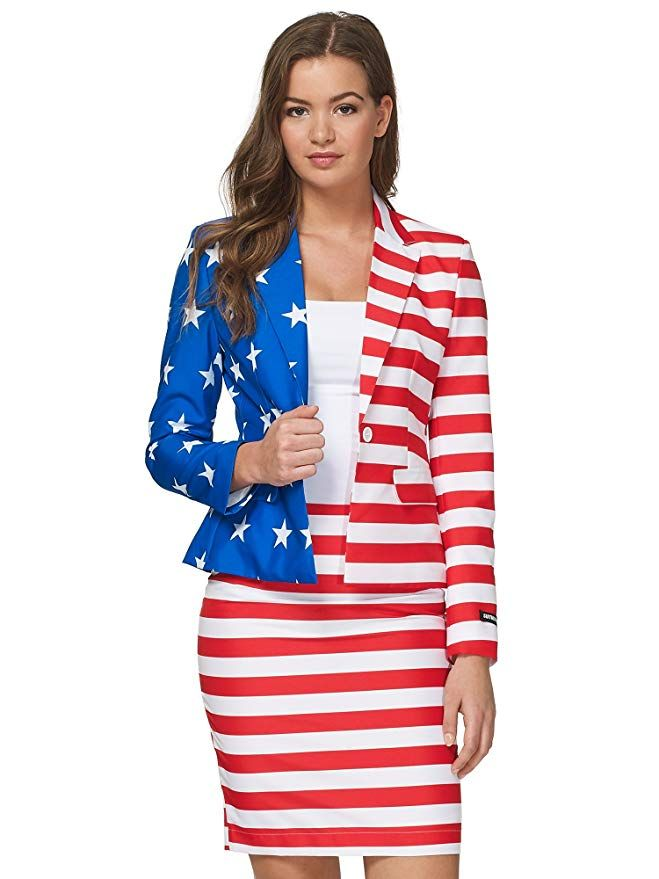 Amazon Com Suitmeister Fun Suits For Women In Different Colors And Styles Includes Jacket Pants Tie Clothing Suits For Women American Flag Dress Jackets