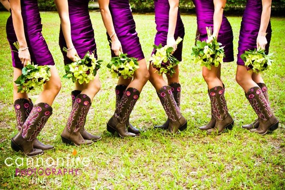 I don't even know if you want boots for your wedding party but some of these combos are totally cute!