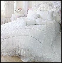 Victorian Lace Bedding | White Lace Ruffle Duvet Cover Bedding