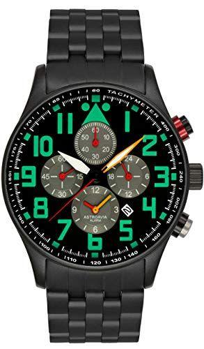 Astroavia V8S - Montre Homme - Quartz Analogique - Chronographe - Bracelet  en Acier Noir 5ae5806d72a