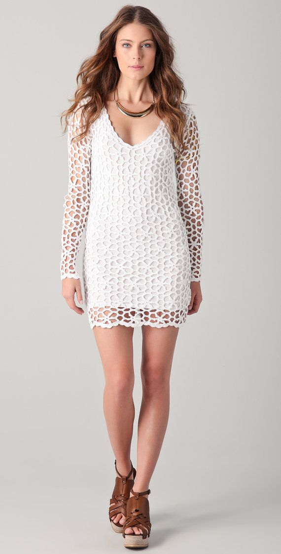 CROCHET FASHION TRENDS - exclusive white crochet mini dress - made to order