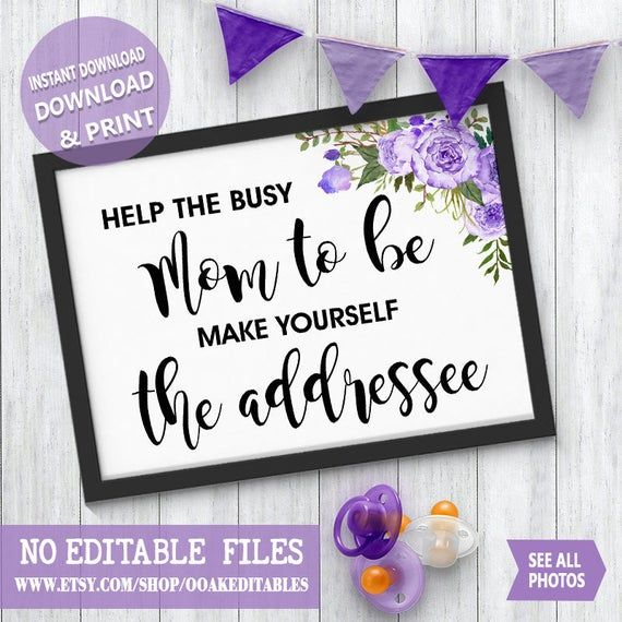 Help Mom to be make yourself the addressee Baby Shower Reception Party shower boho chic purple flowe – Products