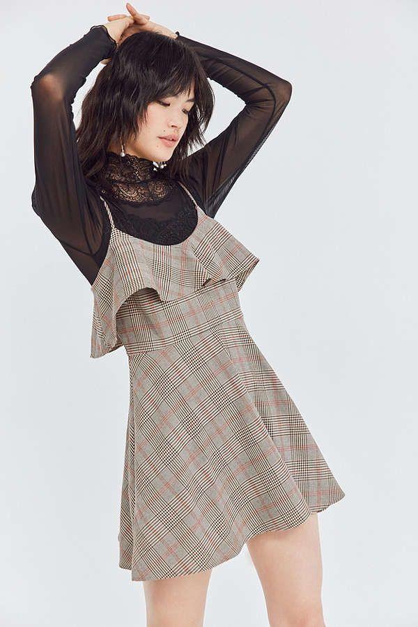 Slide View: 3: Cooperative Glenn Plaid Ruffle Mini Dress