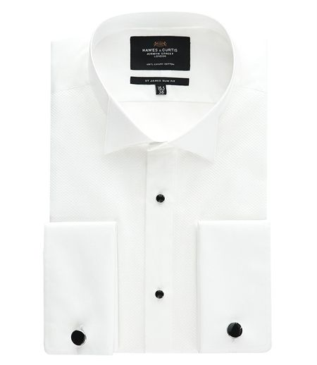 Men's White Waffle Slim Fit Evening Shirt - Wing Collar - Double Cuff - Easy Iron