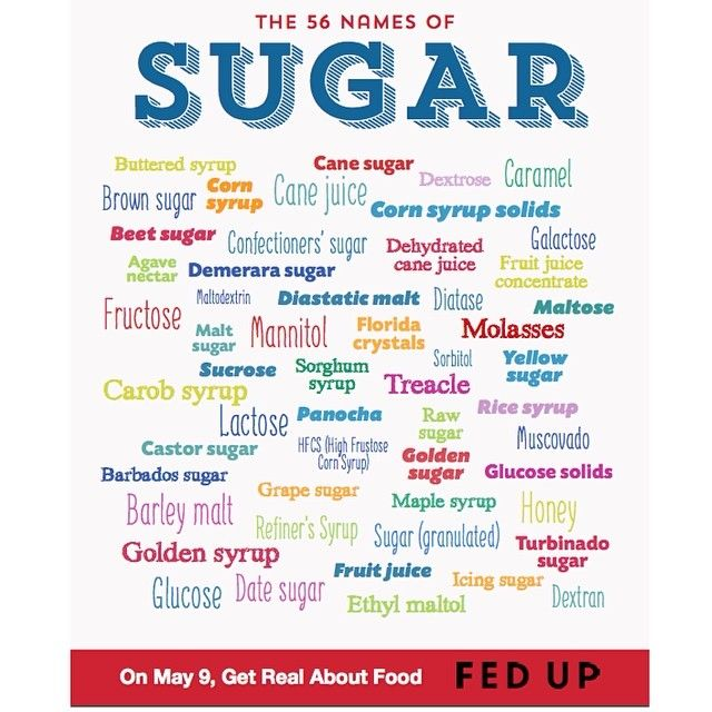56 names for sugar. That the fed up challenge. 10 days with no added sugars in your diet.