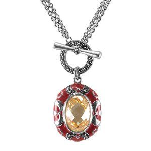 Aura 925 Sterling Silver Marcasite & Canary CZ Pendant with Chain Necklace 18 Inch - Free Shipping