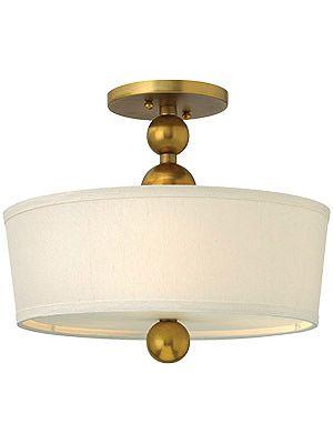 Mid Century Modern Lighting. Zelda Semi Flush Ceiling Light With Linen Drum  Shade