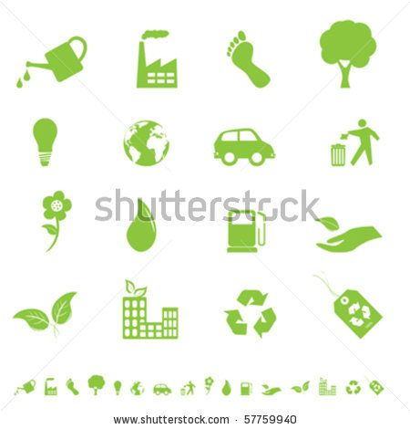 Environment and eco signs and symbols by SoleilC, via Shutterstock
