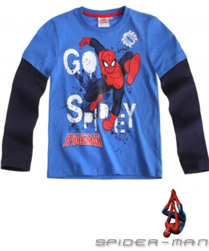 BOY'S KIDS SPIDERMAN OFFICIAL LONGSLEEVE T-SHIRT Sz:Age 4-10 BLUE