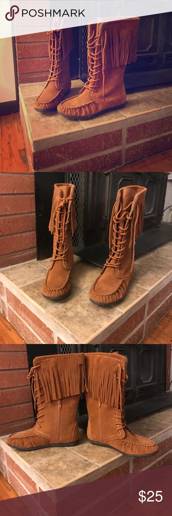 Brand new! Rampage lace up fringe boots Size 8.5 brand new light brown boots. Has long fringe around the top part. Lace up the front and zippers on the inside. These are super cute! Rampage brand. Perfect winter boots to add a little flare. ❤️❤️ Rampage Shoes Lace Up Boots