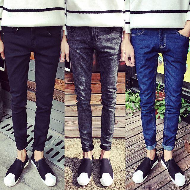 95eea2d49fc 2017 мужские черные узкие джинсы Шорты мужская одежда тенденция тонкий  небольшой брюки Мужской повседневные штаны Большой