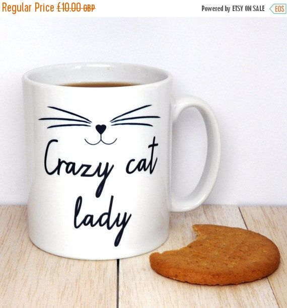 ON SALE Crazy Cat Lady Coffee  Mug, Kitten Mug, Cat Face, Statement Mug, Inspirational Quote, Coffee Cup, Happy Mug, UK