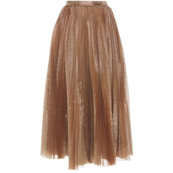 Dice Kayek Pleated Shimmer Skirt (£1,390) ❤ liked on Polyvore featuring skirts, gold, brown midi skirt, pleated midi skirt, brown pleated skirt, calf length skirts and gold skirt