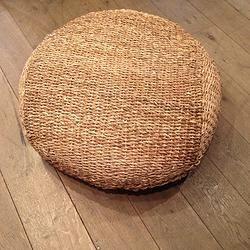 Round rattan floor cushion