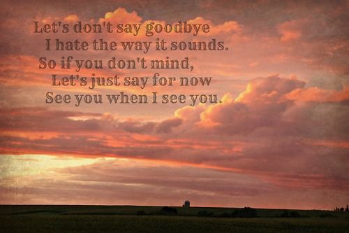 Let's don't say goodbye. I hate the way it sounds.  So if you don't mind, let's just say for now.. See you when I see you <3