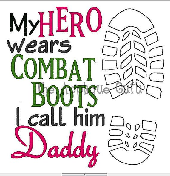 My Hero Wears Combat Boots -- Machine Embroidery Design $3.99