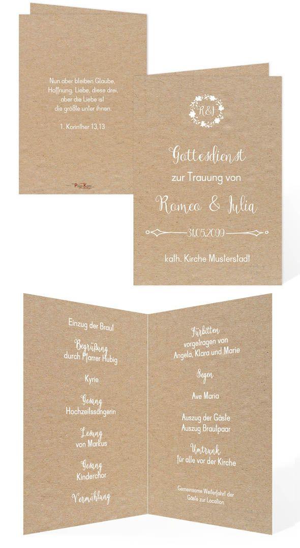 Hochzeitsprogramm Vintage Style Romeo Julia Hochzeitsprogramm Kirchenheft Hochzeit Hochzeit
