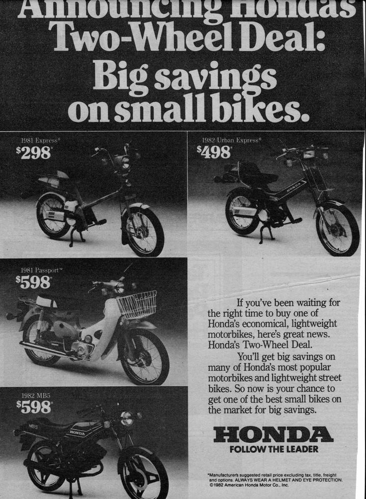 1981 and 1982 Honda motorbike line up. 1981 Express, 1981 Passport, 1982 MB5, 1982 Urban Express.