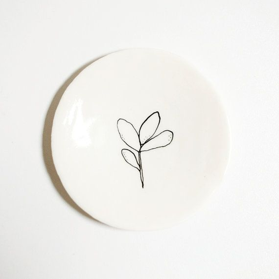 Ring dish porcelain with plant illustration black by Mouseblossom