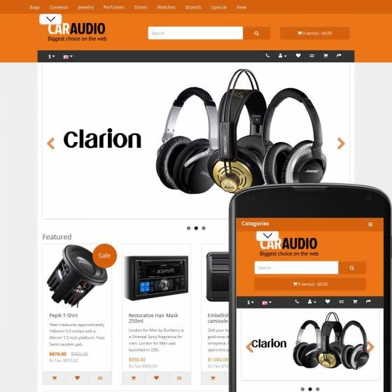 OpenCart Theme Fjord Car Audio Orange