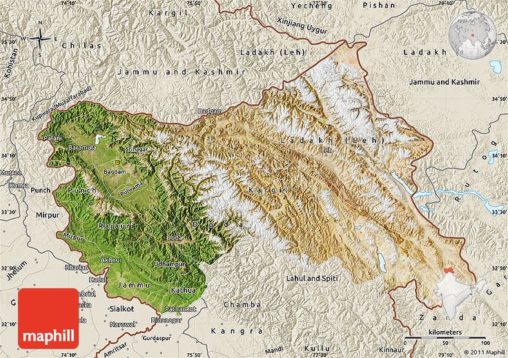 Satellite Map of Jammu and Kashmir, shaded relief outside