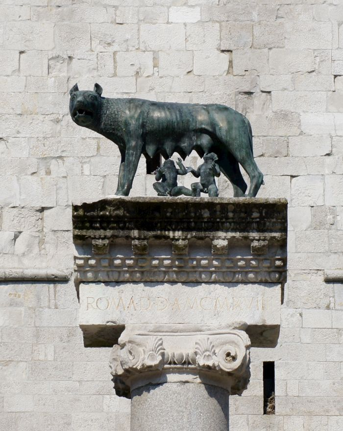 Statue of Romulus and Remus suckling the she-wolf at Aquileia, northern Italy