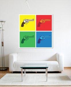Pop Art Guns Modern Canvas Print