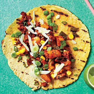 Potato, Poblano, and Chorizo Tacos   MyRecipes.com #myplate #protein #vegetables
