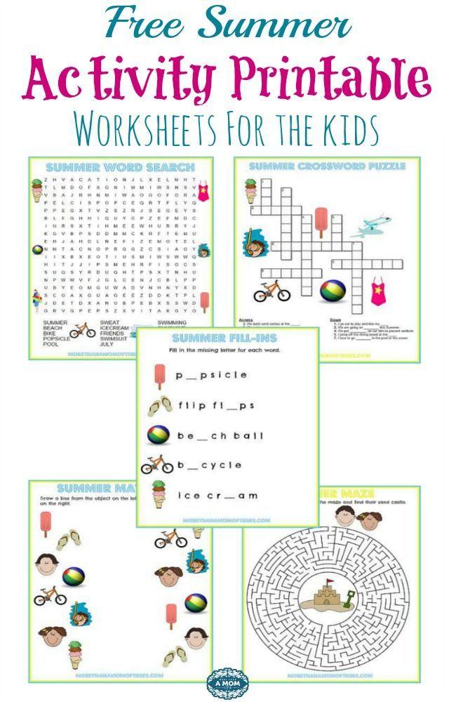 5 Free Summer Activity Printable Worksheets | Loving ...